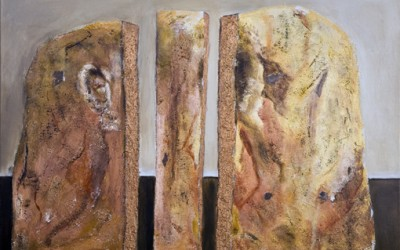 Sandsteinskulptur 50x70 - Acryl und Stuck auf LW